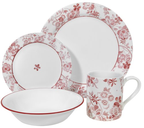 Corelle Livingware Classic Touch 16-Piece Dinnerware Set, Service for 4 (Corelle Dishes Pink)