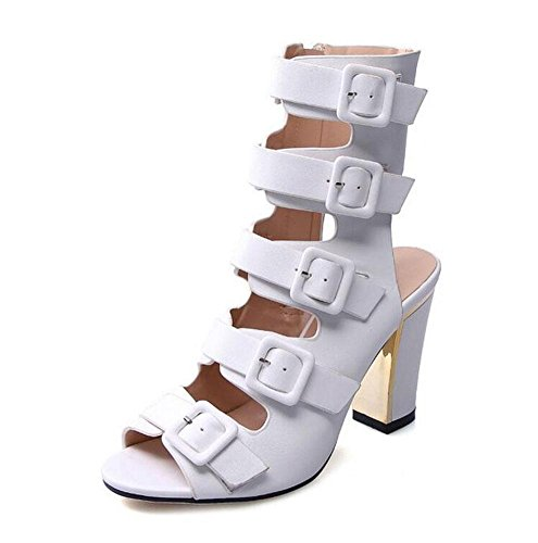 Heeled Summer Large High White Women Sandals Peep Strap Comfortable White And Size Multi Charming Ankle Block Sandals Ladies Toe GLTER Shoes Buckle Shoes Pumps Black Heel Pumps Zaq7COO