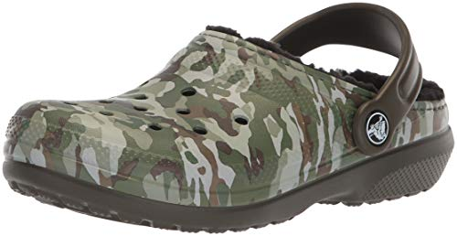 Crocs Kids' Classic Lined K Clog, Dark Camo Green/Black, 2 M US Little ()