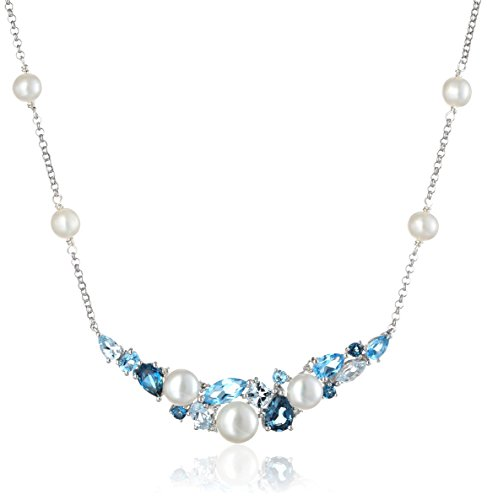 Diamond Topaz Blue Accent - Sterling Silver Cluster Freshwater Cultured Pearl and Mixed Blue Topaz Diamond Accent Necklace