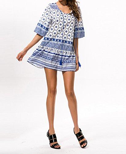 Weiblich Retro Große Schaukel Kurze Ärmel blaue und Weiße Lose Drucken Porzellankleid