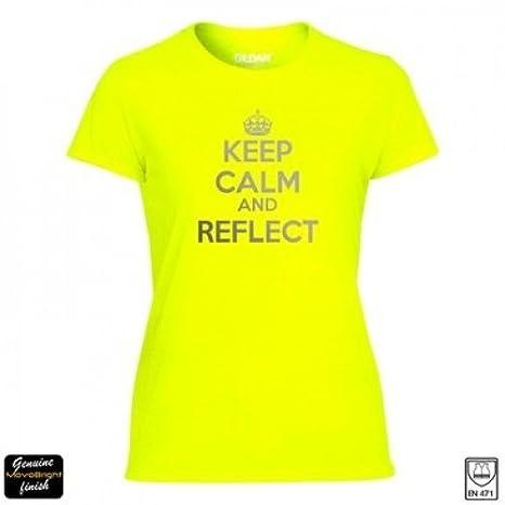 Camiseta – Camiseta running reflectante de alta visibilidad amarillo fluorescente corredores seguridad vial camiseta con mantener