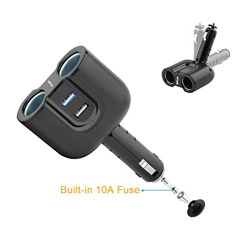 Dual USB Car Charger Adapter with 3.1A/15.5W 2 Socket Cigarette Lighter Adapter DC Outlet Car Splitter - Build-in 10A Fuse Car Socket Adapter