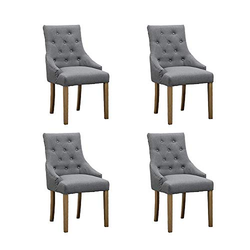 Huisenus Set of 4 Dining Chair with Armrest Upholstered Fabric Leisure Chair Padding Button Nailhead Trim Side Chair for Living Room Restaurant Wedding Reception (Gray)