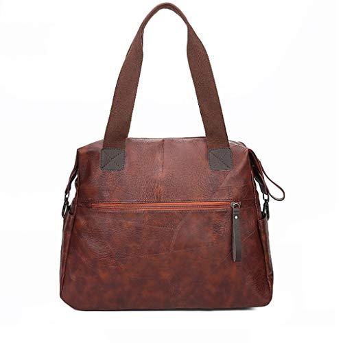GZQDX axelväska av mjukt läder dam handväska axelväska, stor kapacitet sydda handväskor-dam Large