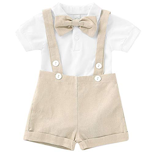 Baby Boy Clothes Gentleman Bowtie Romper and Overalls Suspenders Pants Wedding Tuxedo Outfits(Beige,0-6m) -