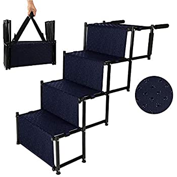 Niubya Upgraded Car Dog Stairs, Nonslip Foldable Metal Fram Pet Steps for Medium and Large Dogs, Lightweight Portable Dog Ramp with Waterproof Surface, Great for Hign Bed, Cars, Trucks, and SUVs, Navy