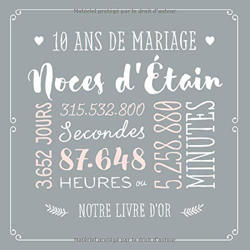 Amazonfr 10 Ans De Mariage Noces Détain Livre Dor