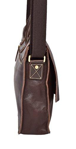 Damen Klassisch Leder Schulranzen Kreuzkörper Arbeit Kuriertasche H8109 Braun