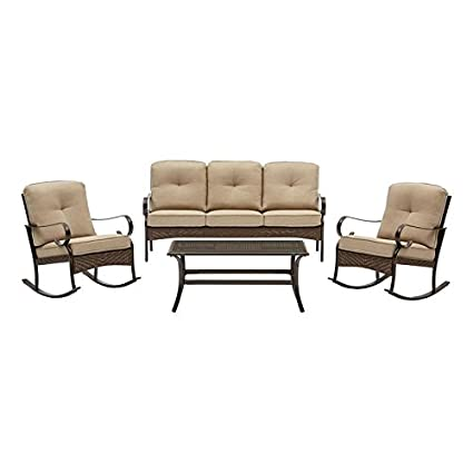Garden Treasures ARB 4PC Arbington 4 Piece Steel Frame Patio Conversation  Set With Tan