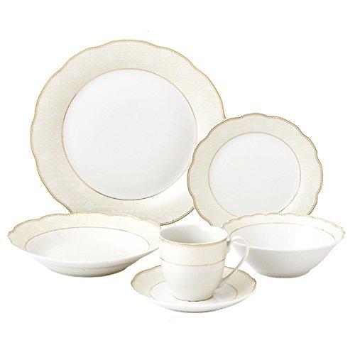 Elegant, Durable Wavy Edge Porcelain Ivory Designed Border with Gold Trim Dinnerware Set 24 Piece