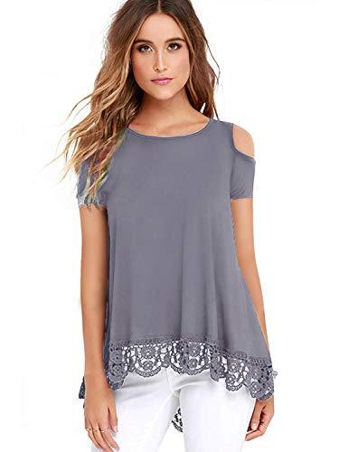 ZEGOLOWomen's Tops Short Sleeve Lace Trim O-Neck A-Line Tunic Blouse Tops for Women Grey Medium