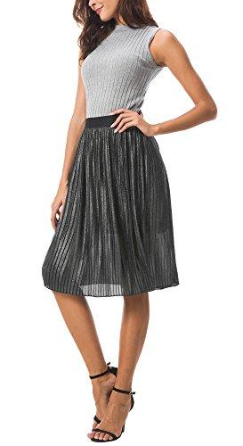 Urban CoCo Women's Midi Skirt Metallic Accordion Pleated A-line Skirt (L, Black)