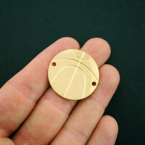 Great Selection 2 Basketball Connector Charms Gold Tone Large Size - GC778 Build Your ()