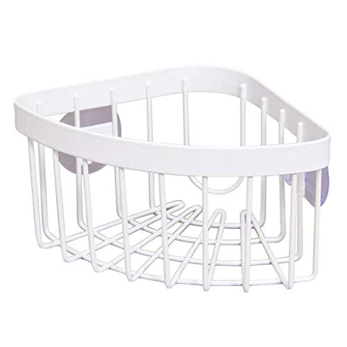 (AutumnFall Triangle Mini Storage Rack Sink Storage Basket with Double Sucker Angle Stand Bathroom Kitchen Shower Corner Storage Shelf (White))