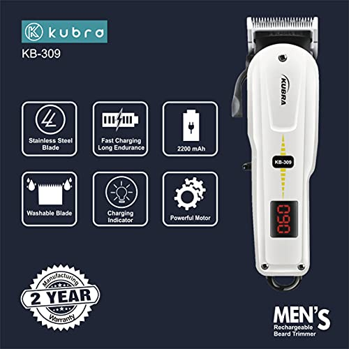 Kubra KB-309 Professional Cordless Rechargeable LED Display Hair Clipper