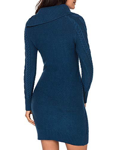 f6359303acc Lookbook Store Women s Peacock Blue Asymmetric Button Collar Cable Knit  Bodycon Sweater Dress M