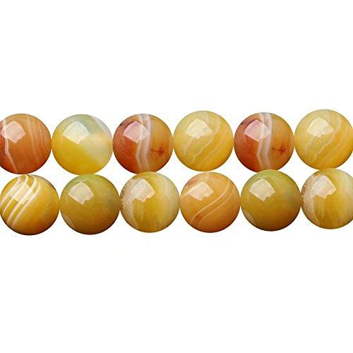 e Bracelet Earrings Jewelry Craft Designing Beads 8mm Orange Yellow Striped Agate Semi Precious Stone in Bulk Wholesale One Strand 15 inch APX 46 Pcs ()