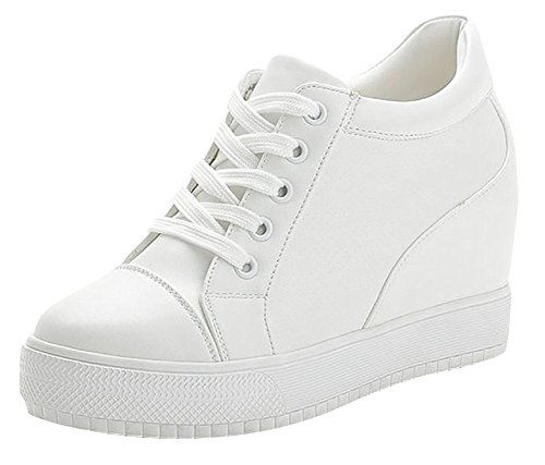 Mewow Daily Womens Wedge Hidden-Heels Platform Shoes Fashion Sports Sneakers (7.5, White) Review