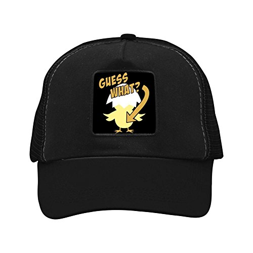 Fenghual Guess What? Chicken Butt Graphic Adjustable Grid Baseball Cap Snapback Washed Dad Hat Trucker Cap for Mens Womens (Baseball Ball Oal)