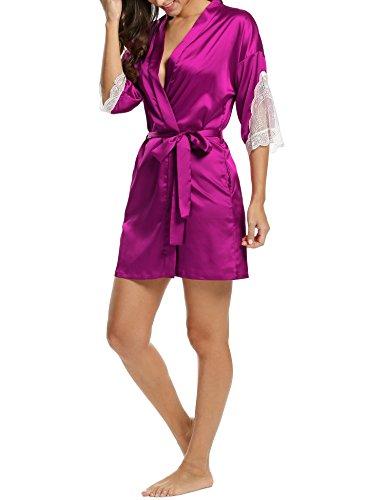 HOTOUCH Mujer Pijama Kimono Satén Seda de Manga 3/4 Hueca Elástico Estilo de Encaje Elegantes Suaves Ropa De Dormir Camisón Tipo 3 Malva
