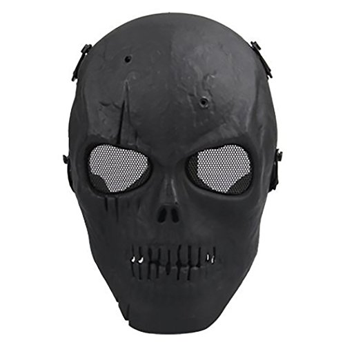 Coxeer M01 Army Skull Skeleton Airsoft Paintball Bb Gun Game Face Mask (Black) - Mask Military Paintball