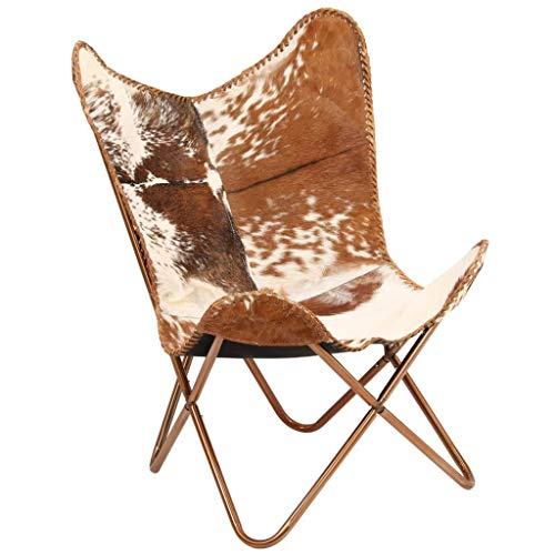 Tidyard Vintage Butterfly Chair Handmade Leather Chair Genuine Goat Leather Brown and White (Genuine Goat)