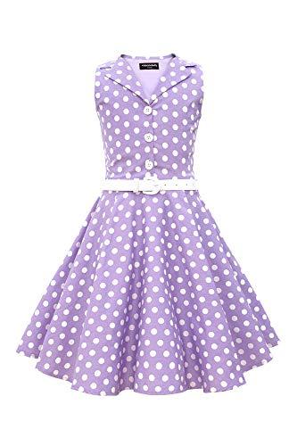 BlackButterfly Kids 'Holly' Vintage Polka Dot 50's Girls Dress (Purple, 9-10 YRS) 50's Polka Dot Dress