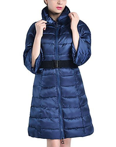 Artificial Coat Snow Of M Down Fashion BLUE Sleeve Warm Section Women'S Winter And Autumn Jacket Long Fur The Pocket Jacket Fifth In Zipper The Slim Coat Thickened F1S6zwqxF