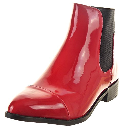 Sopily - damen Mode Schuhe Stiefeletten Chelsea Boots glänzende - Rot