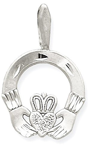 ICE CARATS 14k White Gold Solid Irish Claddagh Celtic Knot Pendant Charm Necklace Fine Jewelry Gift Set For Women (14k Claddagh Pendant)