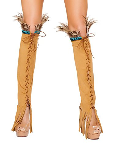 [Lace up Suede Leg Warmers Costume Accessory] (Pocahontas Costume Accessories)