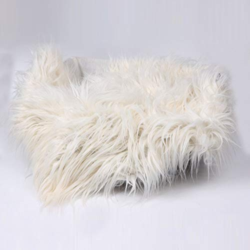 Baby Photo Blanket Long Hair,Photography Wrap Shaggy Area Rug,Newborn Soft Faux Fur Mat,Basket Stuffer Rug Background Backdrop 50cm60cm(8#,Beige)
