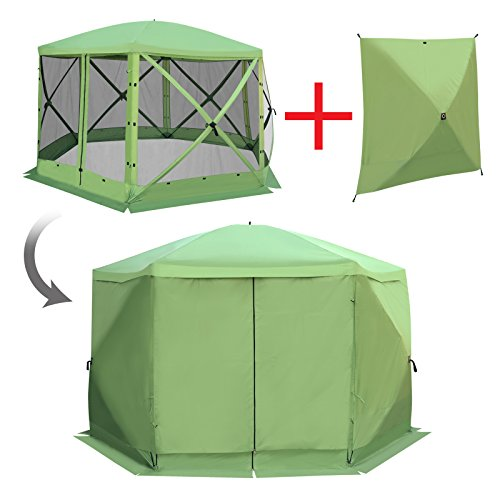 BenefitUSA Outdoor 6-Sided Portable Gazebo Escape Shelter with Wind Panel, 142 x 142-Inch (Green) Review