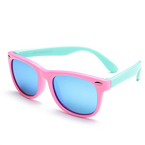 Kids Sunglasses (TPEE Rubber Flexible Kids Child shade Mirrored Lens Polarized Wayfarer Sunglasses Age 3-10,UV Protection (Pink Frame/Mint Green Temple/Blue Mirrored Lens))