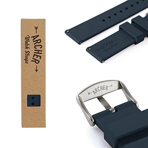 Archer Watch Straps - Silicone Quick Release Soft Rubber Replacement Watch Bands for Men and Women | Multiple Colors, 16mm, 18mm, 20mm, 22mm, 24mm