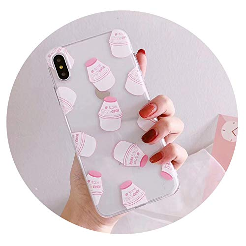 Korean Pink Strawberry Yogurt Mobile Phone case for iPhoneX XR XS MAX Couple Mobile Phone case for iPhone 7 6 8 Plus case,Pink,for IP 6plus - Case Cell Phone Strawberry