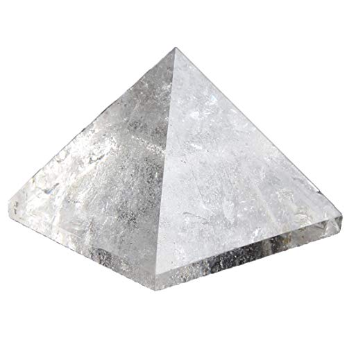 1.5inch Natural Pyramid Carved Chakra Healing Crystal Reiki Stone Top Quality Gemstone Radiation Deflection Home Decor Gift Decoration Crafts (Clear crystal) (Clear Quartz Pyramid)
