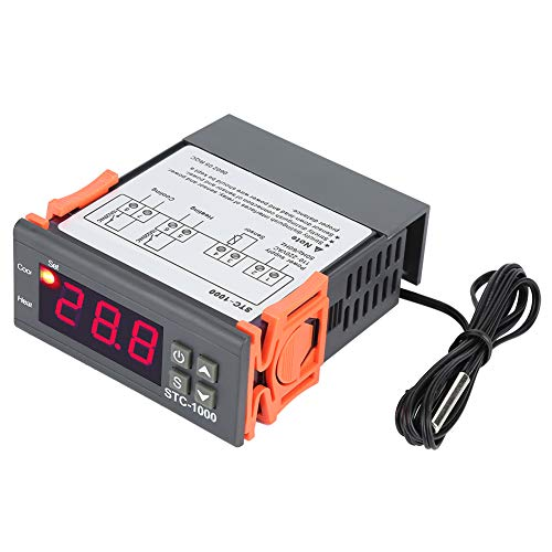 Digital Temperature Controller, Asixx Digital Temperature Controller with Temp Sensor Electric Thermostat Control for Aquarium, Terrariums, Zoo, Paludarium and Chicken Incubator, 110-220V, -50 to 99