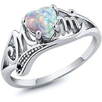 Kassarin Shop White Fire Opal 925 Silver Women Mom Gift Wedding Engagement Ring Size 6-10 (7)