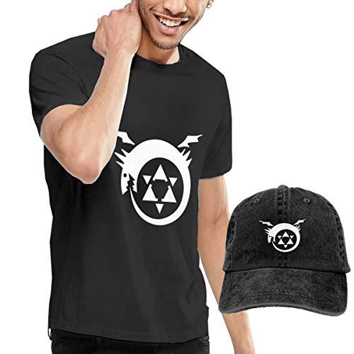 URAHARA Full Metal Alchemist Unisex Short Sleeve T-Shirt and Cowboy Hat Black XXL