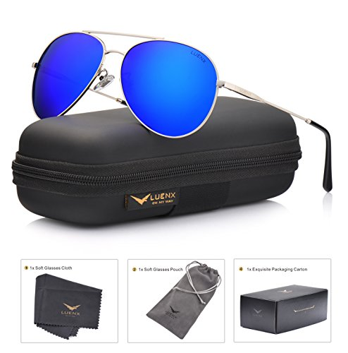 LUENX Men Women Aviator Sunglasses Polarized Mirrored Blue Lens Metal Frame UV 400 59MM Driving - Small Metal Sunglasses
