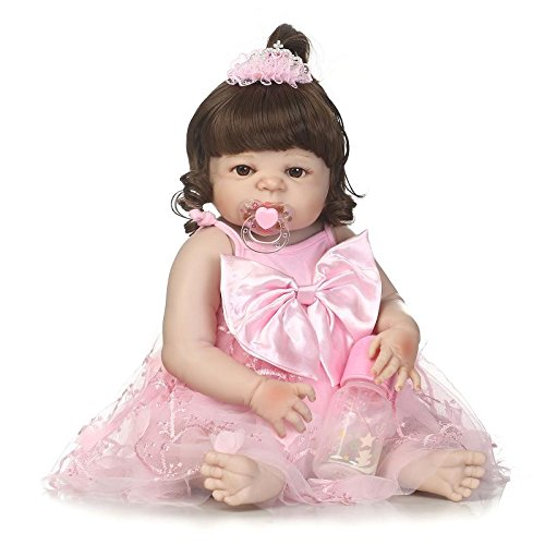 Oumeinuo Reborn Dolls Lifelike Newborn Realistic Baby Doll (Silicone Full Body, Waterproof), 22inch 56cm Weighted Baby Girl or Boy Anatomically Correct Toys (Pink Girl Doll) by Oumeinuo