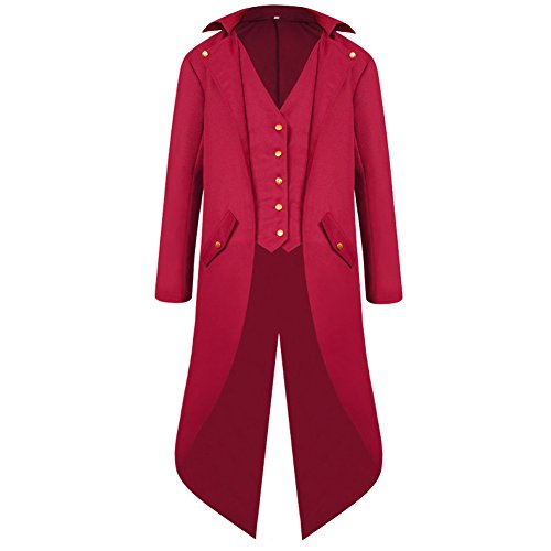 H&ZY Men's Steampunk Vintage Tailcoat Jacket Gothic Victorian Frock Coat Uniform Halloween Costume Red -
