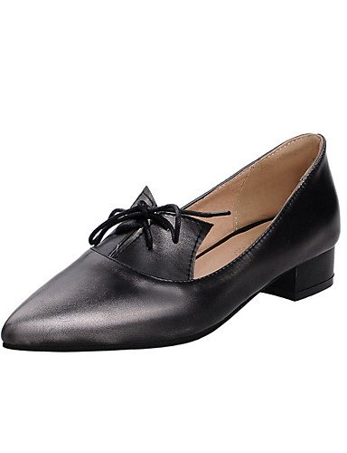 GGX/ Damen-High Heels-Büro / Kleid / Lässig-maßgeschneiderte Werkstoffe / Kunstleder-Niedriger Absatz-Stile / Spitzschuh-Blau / Silber / dark blue-us5 / eu35 / uk3 / cn34