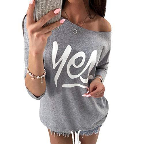 Lettre Haut Imprim Manches Festive Femme Pin paules lgant Spcial Up Beau Style Chemisiers Fashion Tshirts Shirts 4 Slim Automne Tops Nues Dsinvolte Grau Mode Printemps 3 Fit Jeune Arntx0r