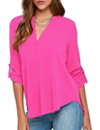 Womens Casual Chiffon Ladies V-Neck Cuffed Sleeve Blouse Tops (S-XXL)