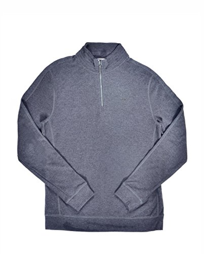 Mens Sweater Gunmetal (Calvin Klein Men's Long Sleeve Quarter Zip Solid French Rib Pull Over,  Gunmetal Heather,  Large)