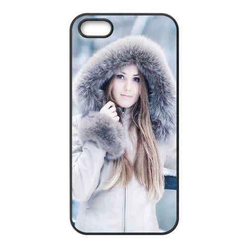 Girl Hood Winter Smile coque iPhone 5 5S cellulaire cas coque de téléphone cas téléphone cellulaire noir couvercle EOKXLLNCD23988