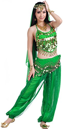 India Dance Outfit Belly Dance Ladies Halloween Carnival Costumes for Women -